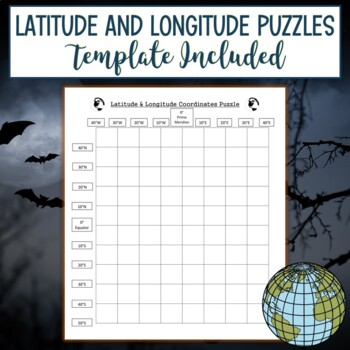 Latitude & Longitude Coordinates Puzzle-Spider Halloween
