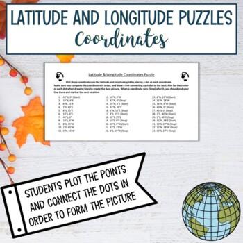 Latitude & Longitude Coordinates Puzzle-Thanksgiving Pilgrim Hat