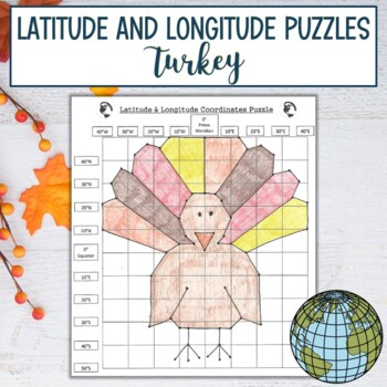 Latitude and Longitude Practice Puzzle Thanksgiving Turkey