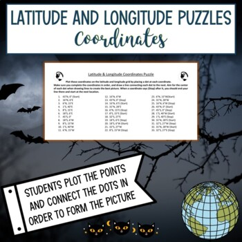 Latitude & Longitude Coordinates Puzzle-Vampire Halloween