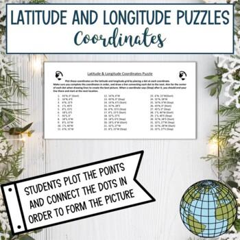 Latitude and Longitude Practice Puzzle-Winter Holiday Christmas Elf