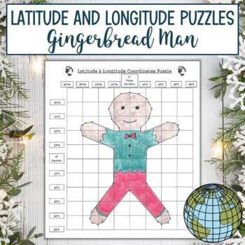 Latitude and Longitude Practice Puzzle Christmas Gingerbread Man