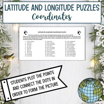 Latitude and Longitude Practice Puzzle Winter Holiday Christmas Santa Claus