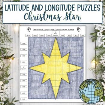 Latitude & Longitude Coordinates Puzzle-Winter Holiday Christmas Star