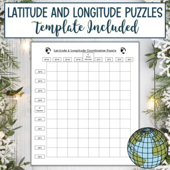 Latitude & Longitude Coordinates Puzzle-Winter Holiday Christmas Stocking