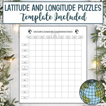 Latitude and Longitude Practice Puzzle Winter Holiday Christmas Stocking