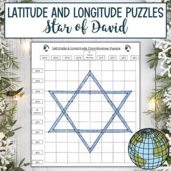 Latitude and Longitude Practice Puzzle-Winter Holiday Hanukkah Star of David
