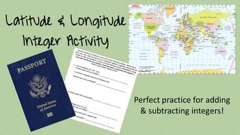 Latitude & Longitude Integer Operations Activity
