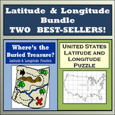 Latitude & Longitude Practice: Where's the Buried Treasure & USA Lat/Long Puzzle