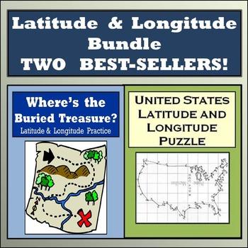 Latitude & Longitude Practice: Where's the Buried Treasure & USA Lat/Long Puzzle