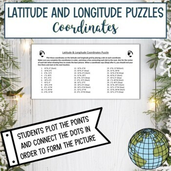 Latitude and Longitude Puzzle-Winter Holiday Christmas Hanukkah Bundle