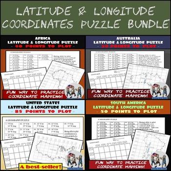 Latitude & Longitude Puzzles Bundle - USA, Aust., Afr., S. America - 25% OFF!