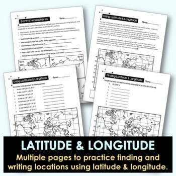 Latitude and Longitude Worksheet Activities