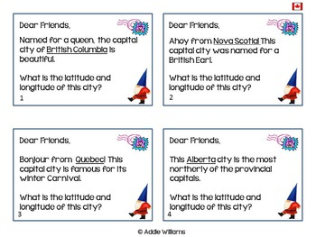 Latitude and Longitude Task Cards - Canadian Capitals