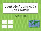 Latitude / Longitude Task Cards and Map