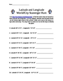 Latitude / Longitude World / City Scavenger Hunt