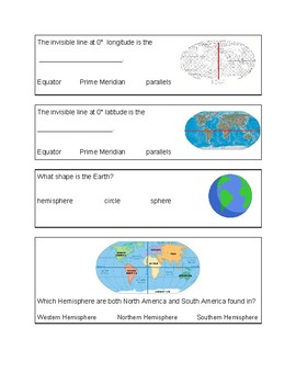 Latitude, Longitude, and Hemispheres Quiz