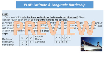 Latitude and Longitude Battleship - HASS/Geography Mapping Skills