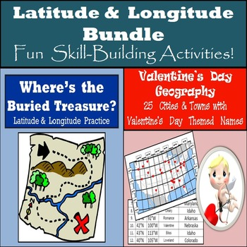 Latitude and Longitude Bundle - 10 Buried Treasures & Valentine's Day Geography