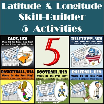Latitude and Longitude Bundle - Sports, Cars, & Towns Geography - 20% Discount