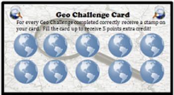Latitude and Longitude Challenge Cards