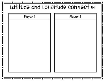 Latitude and Longitude Connect Four (Board Games AND Lifesize)