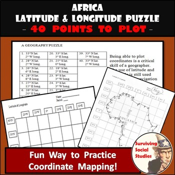 Latitude and Longitude Activity - Africa Coordinates Puzzle