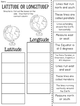 Latitude and Longitude Cut and Paste Sorting Activity