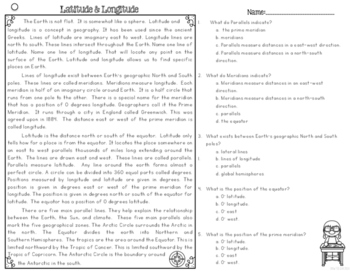 Latitude and Longitude Differentiated Nonfiction Reading Passages