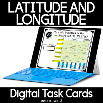 Latitude and Longitude Digital Activity Cards - Perfectly Paperless Resources