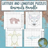 Latitude and Longitude Practice Puzzle Animals Bundle