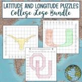 Latitude and Longitude Practice Puzzle College Logo Bundle