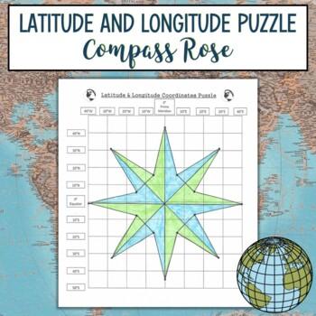 Latitude and Longitude Practice Puzzle-Compass Rose