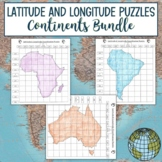 Latitude and Longitude Practice Puzzle Continents Bundle