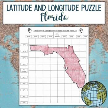 Latitude and Longitude Practice Puzzle Florida
