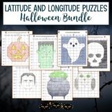 Latitude and Longitude Practice Puzzle Halloween Bundle