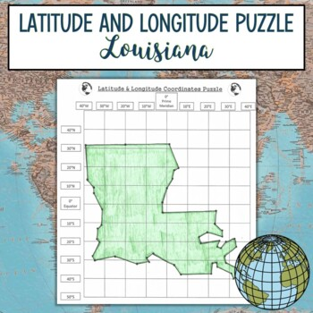 Latitude and Longitude Practice Puzzle Louisiana