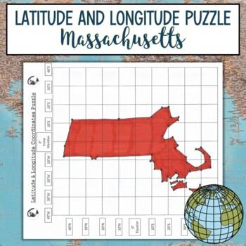 Latitude and Longitude Practice Puzzle Massachusetts