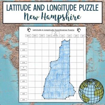 Latitude and Longitude Practice Puzzle New Hampshire