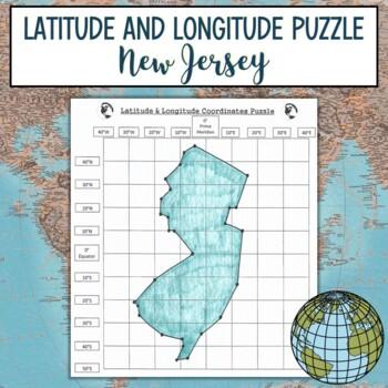 Latitude and Longitude Practice Puzzle New Jersey