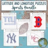 Latitude and Longitude Practice Puzzle Sports Bundle