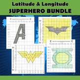 Latitude and Longitude Practice Puzzle Superhero Bundle