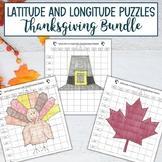 Latitude and Longitude Practice Puzzle Thanksgiving Bundle