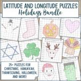 Latitude and Longitude Practice Puzzle Ultimate Holiday Bundle