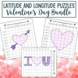 Latitude and Longitude Practice Puzzle Valentine's Day Bundle