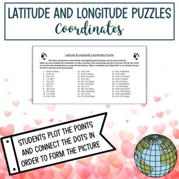 Latitude and Longitude Practice Puzzle Valentine's Day Heart & Arrow