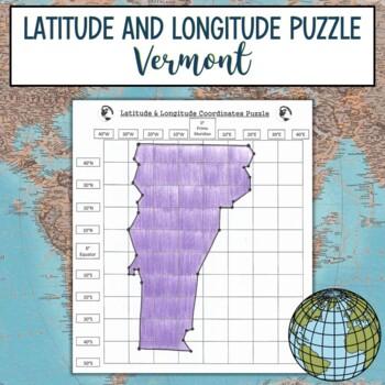 Latitude and Longitude Practice Puzzle Vermont