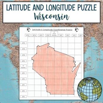 Latitude and Longitude Practice Puzzle Wisconsin