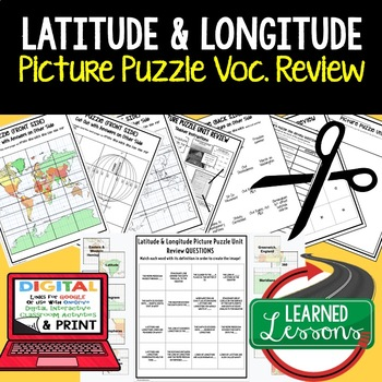 Latitude and Longitude Picture Puzzle, Test Prep, Unit Review, Study Guide