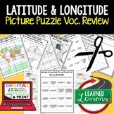 Latitude and Longitude Picture Puzzle, Test Prep, Unit Rev